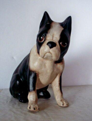 "Boston Terrier Puppy Dog Figurine Vintage 3 3/4"" Tall Black & White Collectible"
