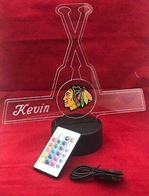 Chicago Blackhawks NHL Hockey Light Up Light Lamp LED, Remot