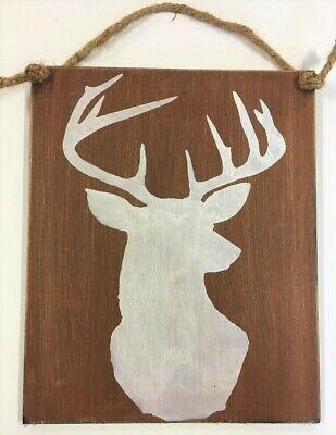 Deer head Buck log cabin decor wood sign hunting lodge baby boy woodland - Hunting Nursery Decor