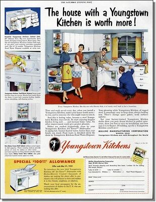 1952 Youngstown steel kitchen cabinets.  vintage print-advertisement