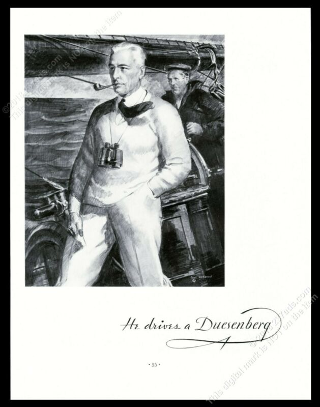 1934 He Drives A Duesenberg car yacht captain Paul Gerding art vintage print ad