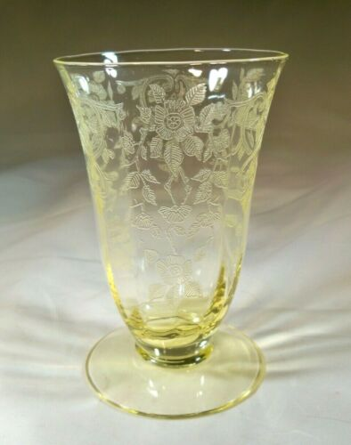 "CAMBRIDGE GLASS CO. APPLE BLOSSOM YELLOW #3130 4"" TALL 5-OUNCE FOOTED TUMBLER!"