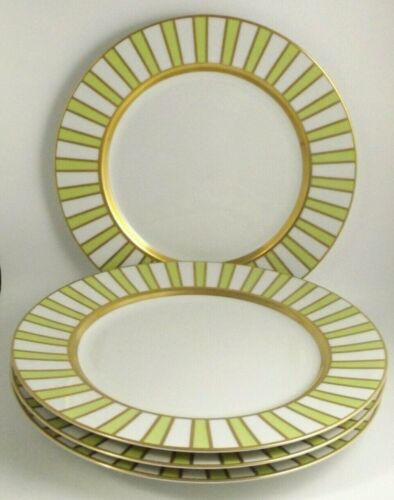 4 Marc Blackwell Adriatico Lime Green & Gold Dinner Plates   (@b4)