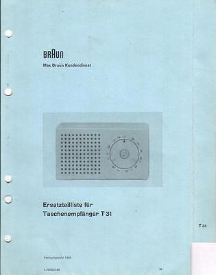 Braun Service Manual für  T 31 Taschenempfänger