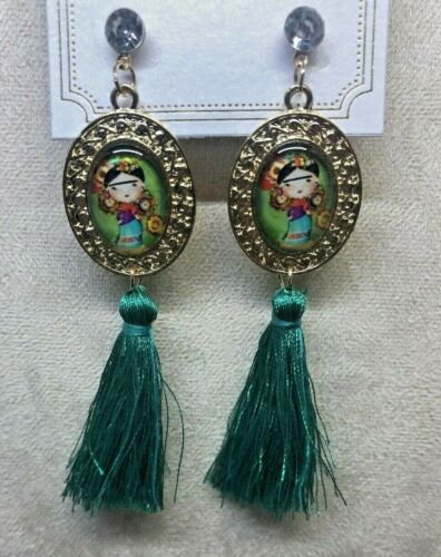 Frida Kahlo With Tassel Green Fashion Earrings