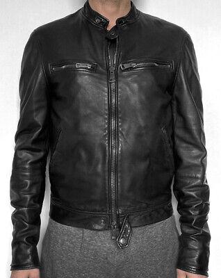 Burberry Brit Leather Biker Jacket Banner Washed Lamb in Black M