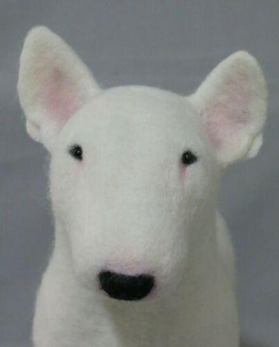 Needle Felted Wool Sculpture Bull Terrier Dog OOAK