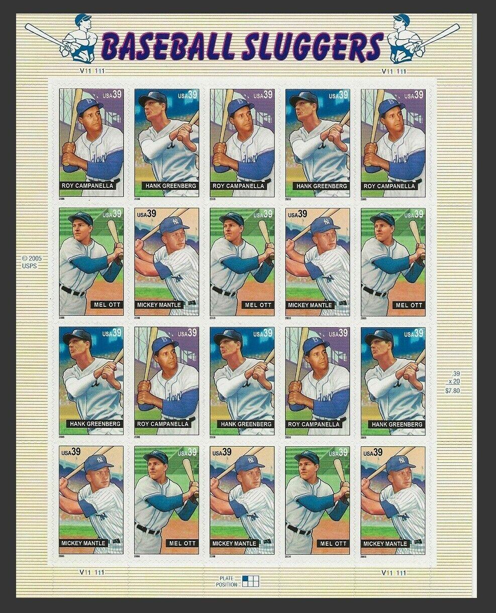 US Scott 4080/3 Baseball Sluggers Sheet Campanella, Greenberg, Mantle, Ott - $8.50
