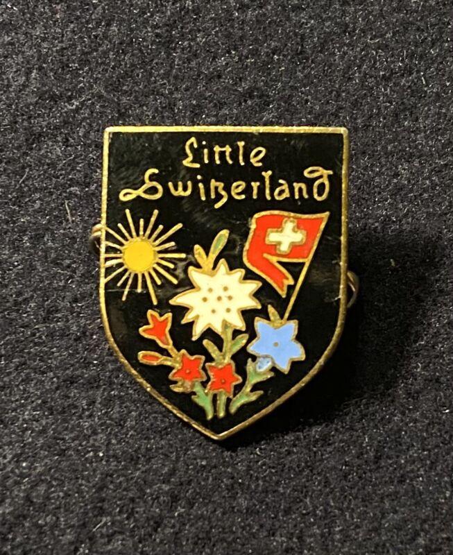 LITTLE SWITZERLAND Vtg Repaired Skiing Ski Pin WISCONSIN Resort Souvenir Travel