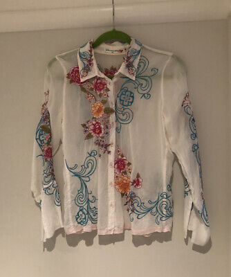 Johnny Was White Embroidered Shirt/Top - Size Small