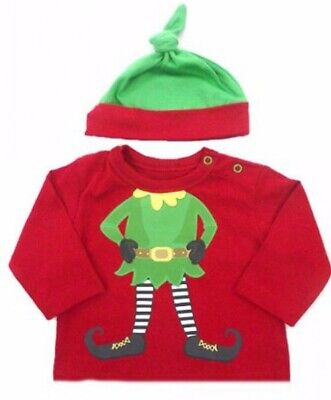 New Baby Cute Christmas Elf T-shirt and Hat Set 0 - 3 months Xmas Day Outfit ()
