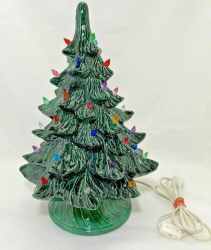 "17"" Ceramic Light Up Christmas Tree with Base Handmade Vintage Home Decor On/Off"