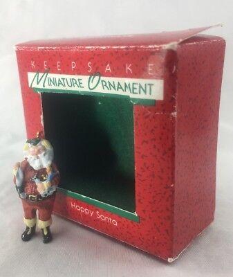 "Hallmark Miniature ORNAMENT ""HAPPY SANTA"" 1988 W/BOX&TAG"