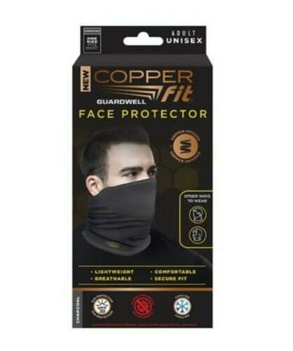Copper Fit Face Protector Mask Lightweight Breathable Comfortable Charcoal NEW