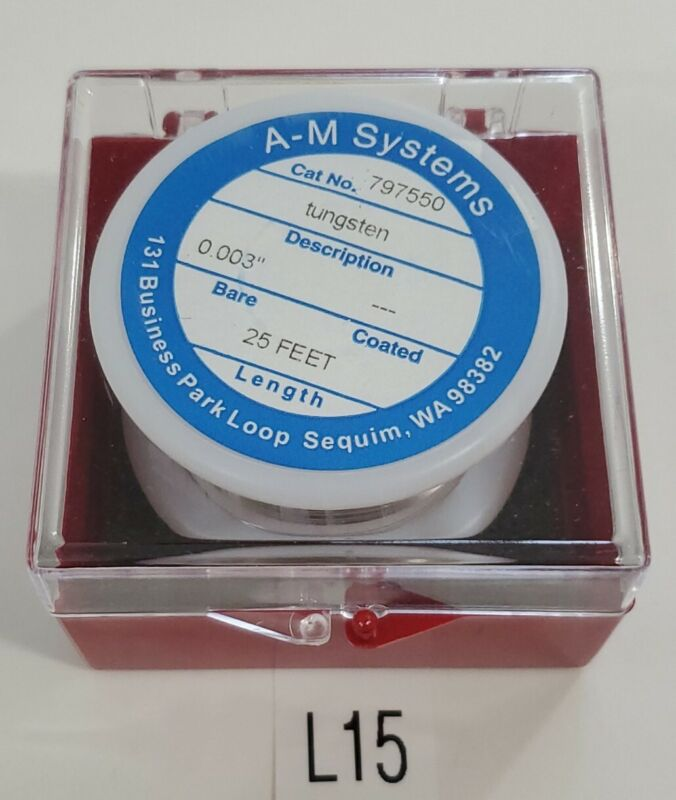 "*NEW* A-M Systems 797550 Bare Tungsten Wire 0.003"" 25Ft Spool + Warranty!"