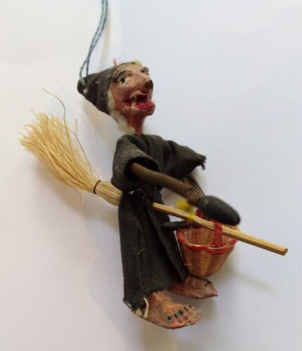 ANTIQUE PLASTER WOOD & FABRIC WITCH FLYING A BROOMSTICK HALLOWEEN ORNAMENT