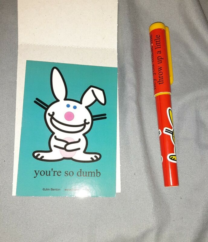Happy Bunny Jim Benton Pen And Sticker