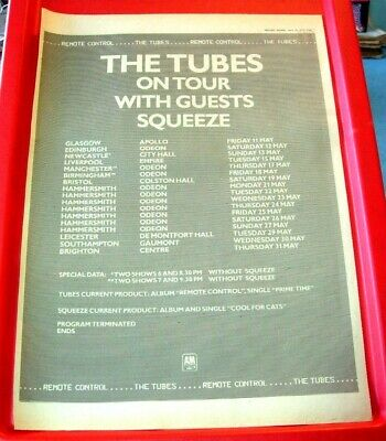 The Tubes/Squeeze UK Tour Vintage ORIG 1979 Press/Magazine ADVERT Poster-Size