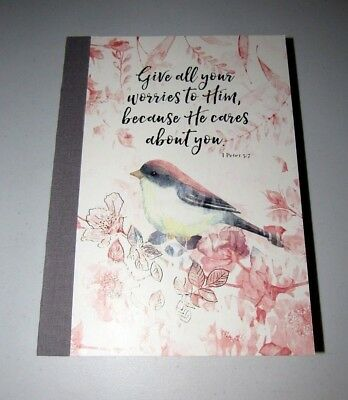 PUNCH STUDIO #65625 PEACH FLORAL CHICKADEE BIRD LINEN BOUND DELUXE THICK JOURNAL