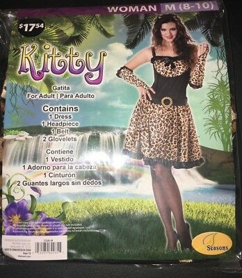 Leopard Kitty Costume Adult Halloween Dress Animal Print Fur Cheetah