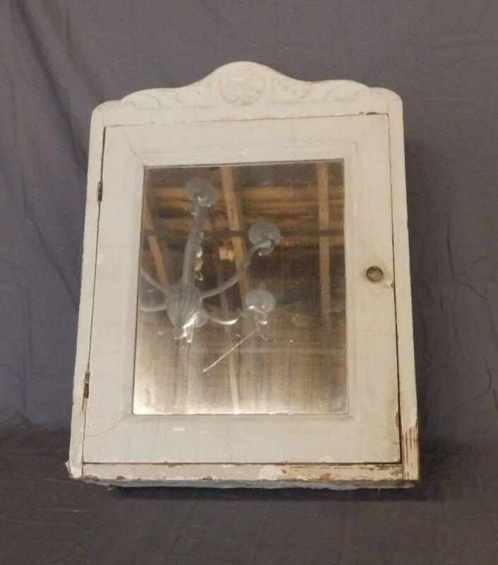 Antique Wood Surface Mount Medicine Cabinet Carved Chest Old Vtg 473-18P