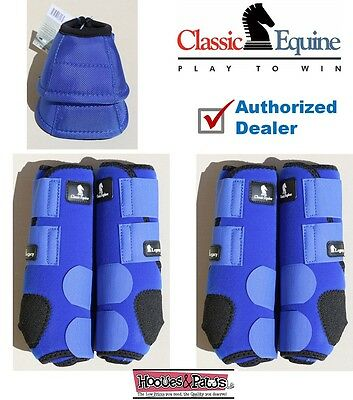 MEDIUM Blue CLASSIC EQUINE Front Rear Legacy Horse Sports Leg No Turn Bell Boots