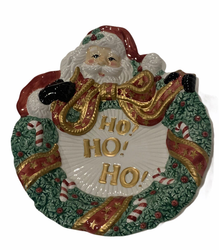"Fitz And Floyd Essentials Christmas Holiday Santa ""Ho Ho Ho"" Wreath Plate"