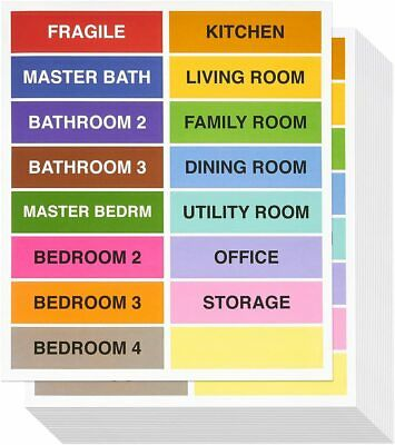 Moving Labels Moving Packing Stickers Color Coded 16 Labels Sheet 320 Total