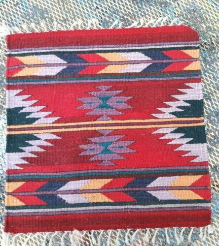 "Vtg  Navajo Colorful Saddle Blanket Wool Single Saddle 23 X 24"""