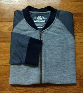 AMERICAN RAG Mens Jackets Size Medium M Bomber Blue Gray Cotton Poly EUC