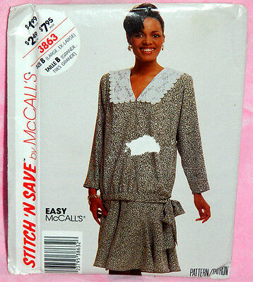 Uncut McCalls Sz L-XL Easy Pullover Blouse & 8-Gore Flared Skirt Pattern 3863