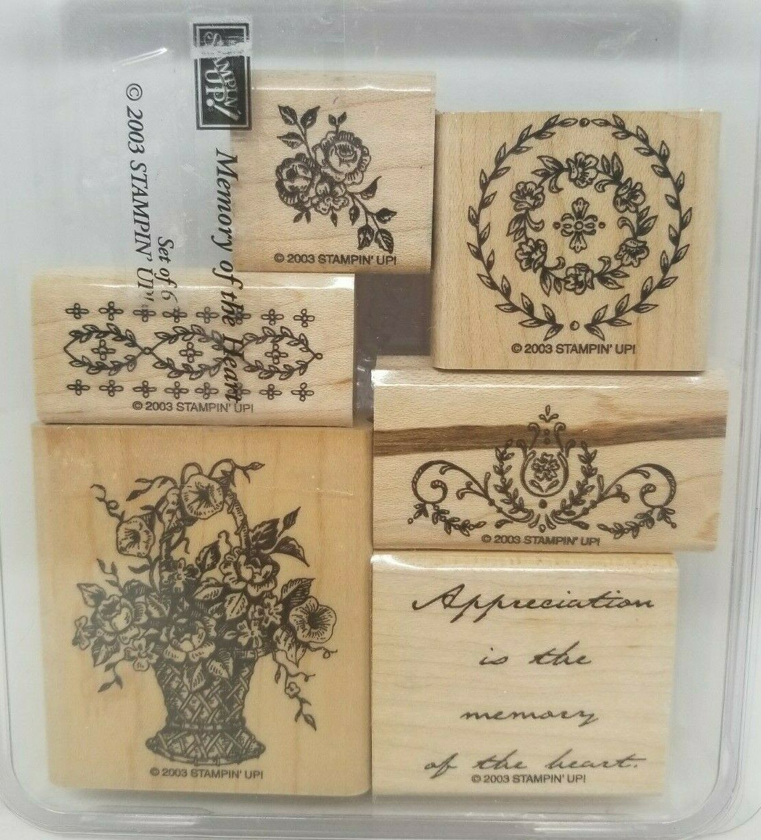 Stampin Up Memory Of The Heart Wood Mount Rubber Stamps Roses Flowers Thanks - $11.99