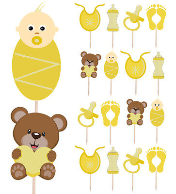 Baby Dusche Party Essen & Törtchen Auswahl Dekorationen Toppers Gelb Packung 14