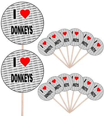 Usado, I Love Donkey's Fiesta Comida Cupcake Palillos Palos Banderas Decoraciones Tarta segunda mano  Embacar hacia Argentina