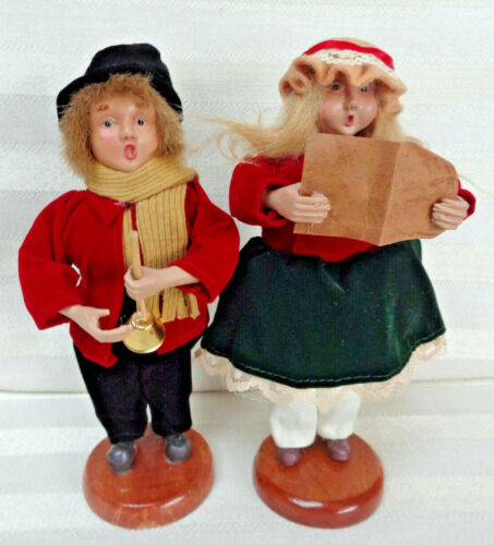 Paper Mache Christmas Carolers/Singers Boy and Girl