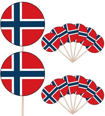 Svalbard & Jan Mayen Islands Flags Party Food Cup Cakes Picks Decorations Topper
