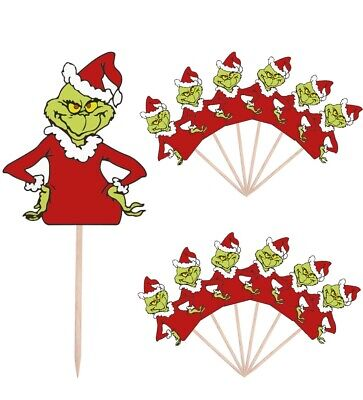 Grinch Christmas Party Food Cup Cake Picks Sticks Decorations Toppers 14 Pack ()