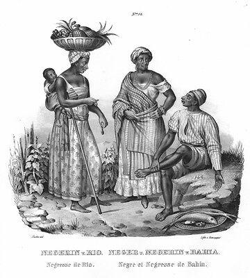 Rio de Janeiro, Bahia, Brasilien Trachten, Original-Lithographie von ca. 1860