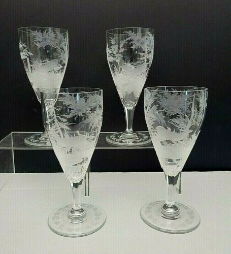 4 Bohemian Water Glass Set Etched Crystal Stag Rabbit Deer Trees Bird Forest Vtg