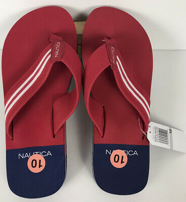 Nautica Red Flip Flops Hisar Mens Size 10 Beach Sandals