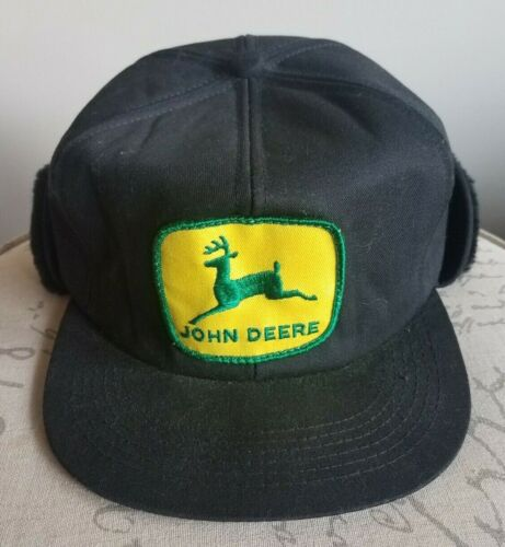 Vintage K Products Cold Weather John Deere Patch Hat w/ Ear Flap USA 6 7/8 7 1/2