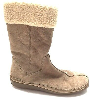 Hush Puppies Womens Zip Furry Lined Inside Winter Boots Shoes Tan Leather Sz - Furry Winter Boots