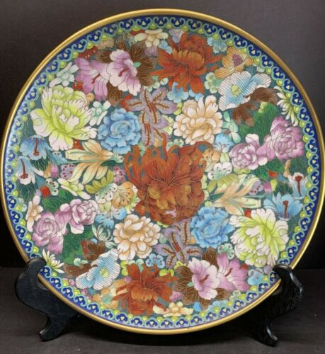 "VTG 19TH C. CHINESE CLOISONNE ENAMEL FLOWERS LARGE 15"" IN WIDTH PLATE WOOD STAND"
