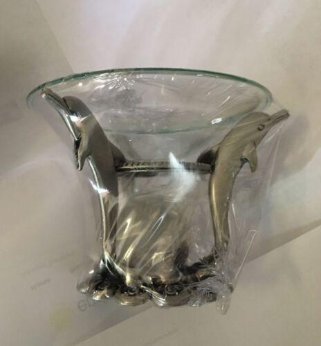 Slim 3 dolphin tea light candle holder w/ candle Item #199 .RocketFastShipping !