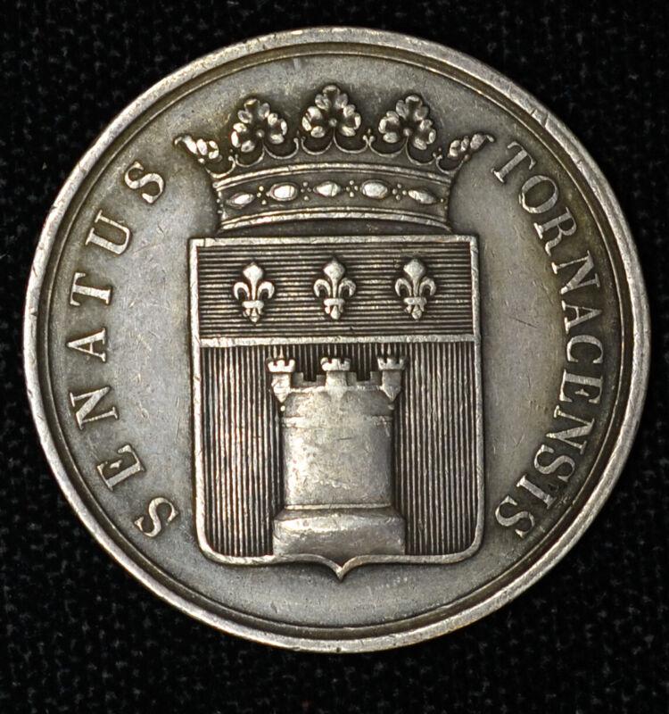 Belgium 32mm silver Senate of Tournai Vigilance Medal Scarce Seldom Seen