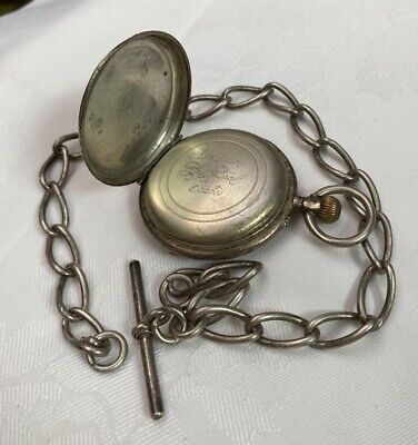 Antique, Solid Silver Albert Chain & Pocket Watch ~ Project Lot ~ 111.7 grams ~