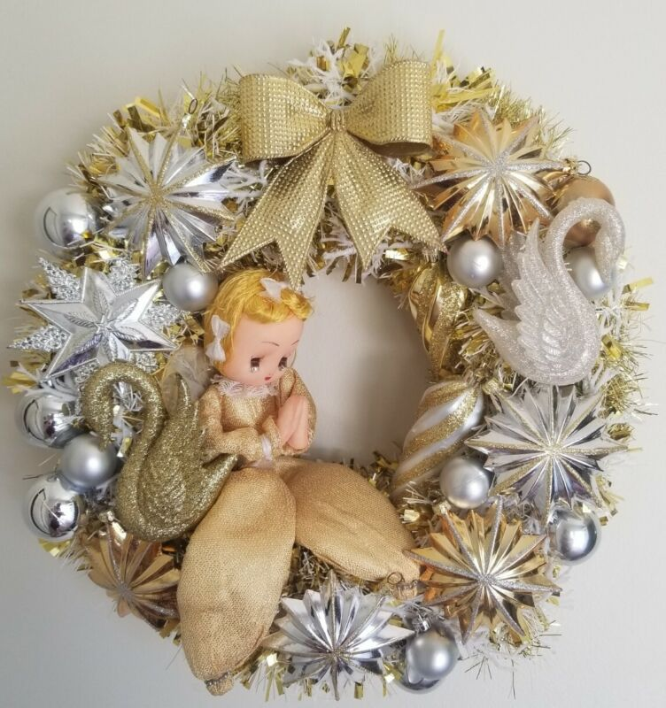 "Vintage Christmas Plastic Ornament Wreath 14"" Gold Angel Japan Handmade Glitter"