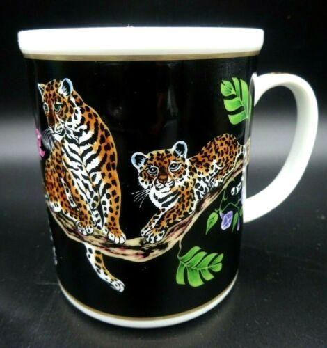 Lynn Chase Jaguar Jungle Coffee Black Mug - Jaguars - Birds & Flowers - Ex Con
