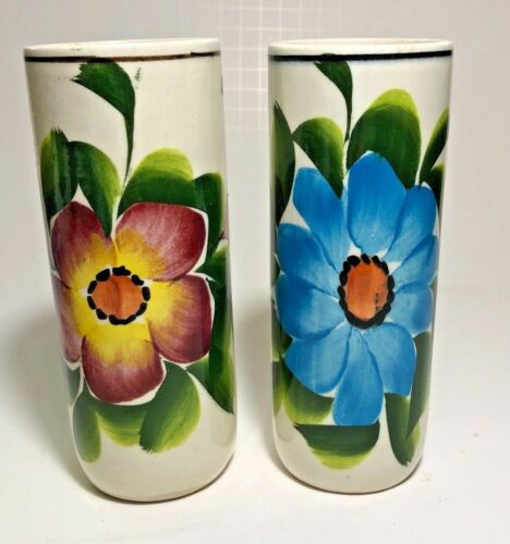 """Pair of Vintage American Art Pottery Hand Painted Mod Flowers Cylinder 6"""" Vases"""