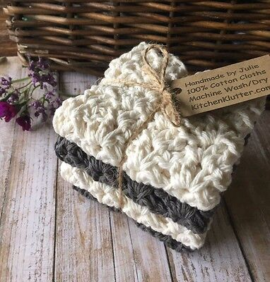 Handmade Crochet Dish/Wash Cloths Set of 4 Grey & Off White 100% Cotton Gift